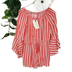 NWT Band of Gypsies Coral & White Striped Romper L